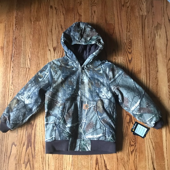 12 MONTH CARHARTT YOUTH REALTREE XTRA CAMO ACTIVE JACKET FLANNEL QUILT-LINED